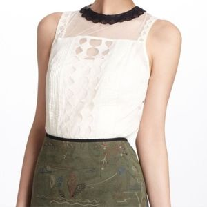 Anthropologie Lace Lynette Scallop Collar Blouse